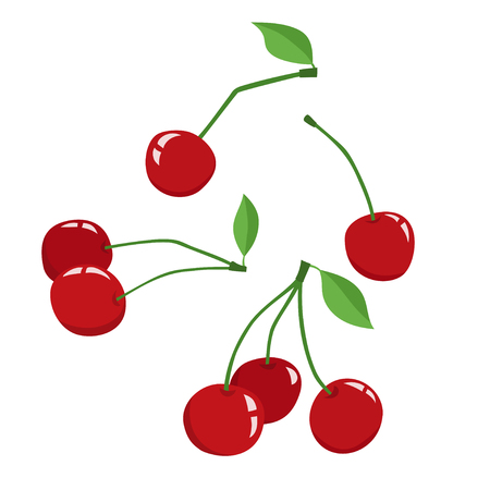 Cherry with leaves icon