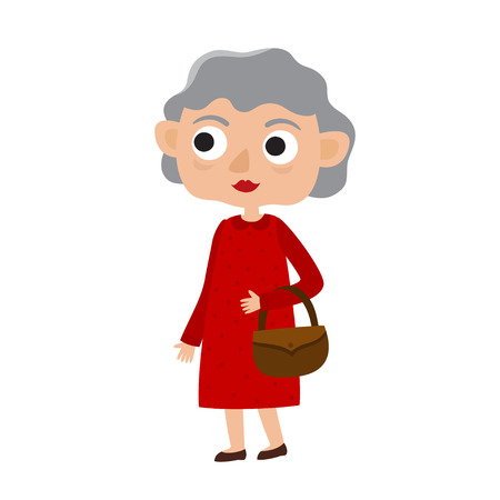 Happy senior lady with silver hair in red dress Illustration
