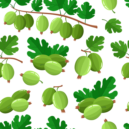 Pattern with cartoon gooseberries with green leaves