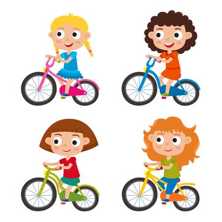 Set of cartoon girls riding a bike having fun riding bicycles