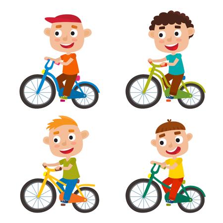 Set of cartoon boys riding a bike having fun riding bicycles Illustration