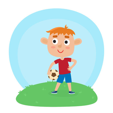 Vector illustration of little boy in shirt and short playing football. Cute cartoon kid holding soccer ball on grass. Pretty football player. Happy child.