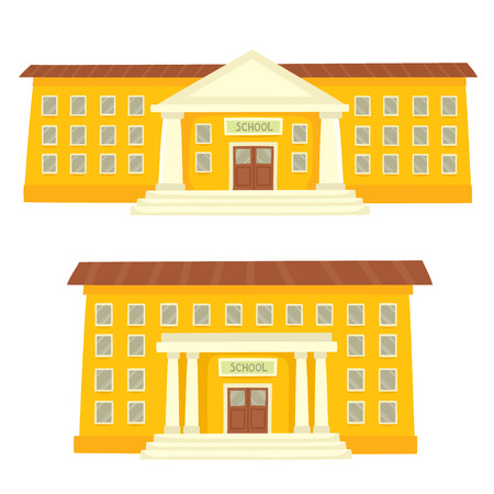 Color vector illustration of school buildings isolated on white for school banner or poster design. Set of yellow school buildings.