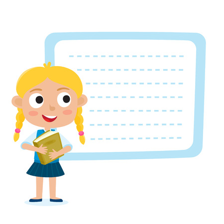 Cute little blonde girl with a blank poster for your text entry isolated on white. Ready for your message. Design background for child books, stickers, posters, web pages, stickers.  Illustration
