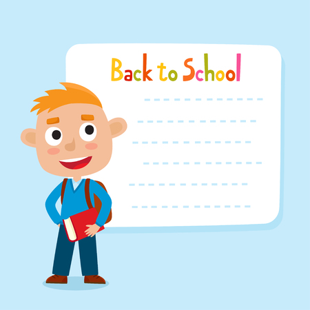 Cute little red-haired boy with a blank poster for your text entry. Ready for your message. Back to school. Design background for child books, stickers, posters, web pages, stickers.  Illustration