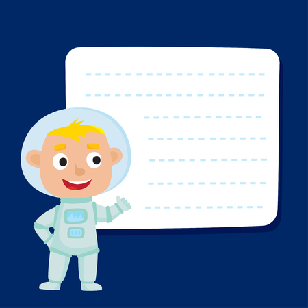 Cute little blonde boy astronaut with a blank poster for your text entry isolated on blue space. Ready for your message. Design background for child books, stickers, posters, web pages, stickers.  Illustration