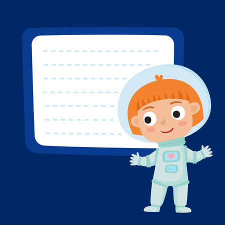Cute little red-haired girl astronaut with a blank poster for your text entry isolated on blue space. Ready for your message. Design background for child books, stickers, posters, web pages, stickers.  Illustration