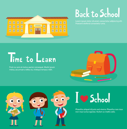 School horizontal banner set with school building, isolated school supplies, happy pupils - boy and girls in uniform. Design elements for child books, stickers, posters, web pages.