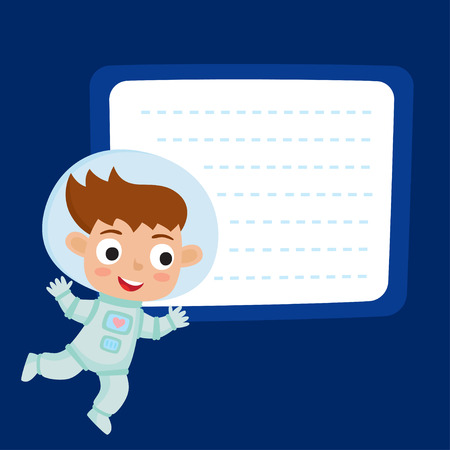 Cute little girl astronaut with a blank poster for your text entry isolated on blue space. Ready for your message. Design background for child books, stickers, posters, web pages, stickers.  Illustration