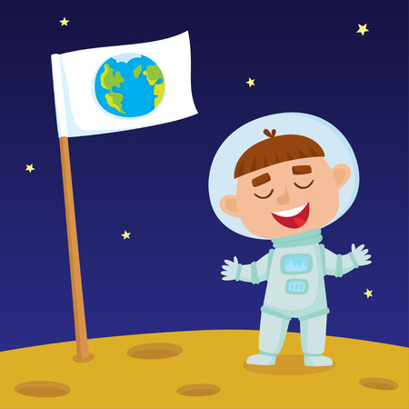 Cute little happy boy astronaut standing on Moon with Earth flag. Design background for child books, stickers, posters, web pages, stickers.  Illustration