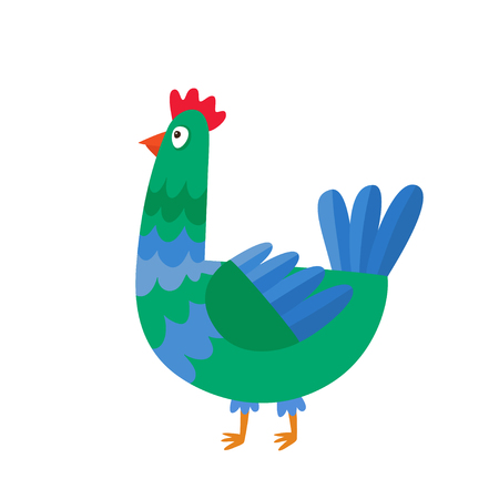Cartoon chicken isolated on white. Cartoon character design of chicken used for books, stickers, posters, web pages. Merry Christmas, happy New Year, xmas holiday memory card. Chinese year symbol.  Illustration