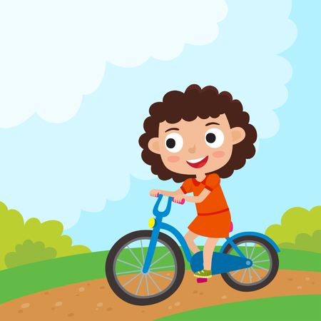 Cartoon girl riding a bike having fun riding bicycles in park. Happy kid having fun on weekend. Summer break outdoor recreation for kids. Vector character design on kids used for child books, stickers, posters, web pages.