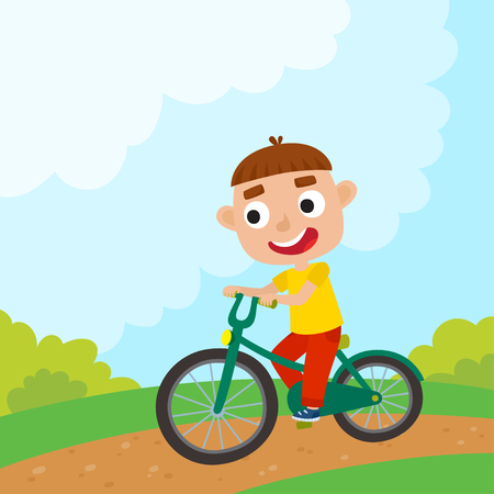 Cartoon boy riding a bike having fun riding bicycles in park. Happy kid having fun on weekend. Summer break outdoor recreation for kids. Vector character design on kids used for child books, stickers, posters, web pages.