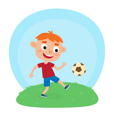 Vector illustration of little boy in shirt and short playing football. Cute cartoon kid kicking soccer ball on grass. Pretty football player. Happy child. Illustration