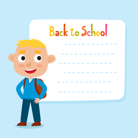 Cute little blonde boy with a blank poster for your text entry. Ready for your message. Back to school. Design background for child books, stickers, posters, web pages, stickers.
