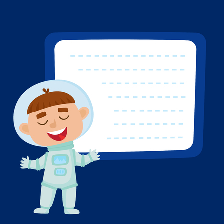 Cute little boy astronaut with a blank poster for your text entry isolated on blue space. Ready for your message. Design background for child books, stickers, posters, web pages, stickers.