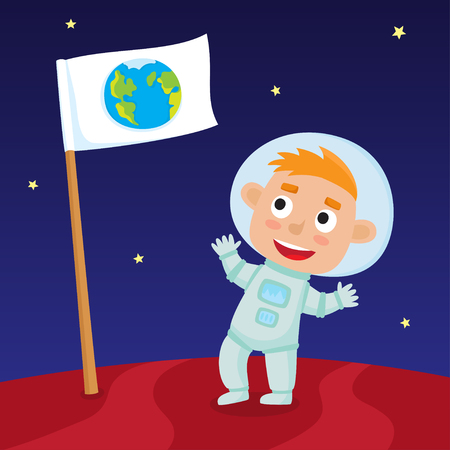 Cute little happy boy astronaut standing on Mars with Earth flag. Design background for child books, stickers, posters, web pages, stickers.