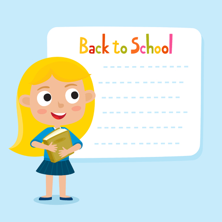 Cute little blonde girl with a blank poster for your text entry. Ready for your message. Back to school. Design background for child books, stickers, posters, web pages, stickers.