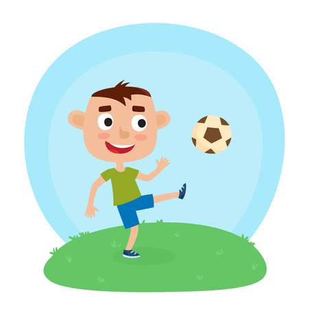 Vector illustration of little boy in shirt and short playing football. Cute cartoon kid kicking soccer ball on grass. Pretty football player. Happy child. Stock Photo