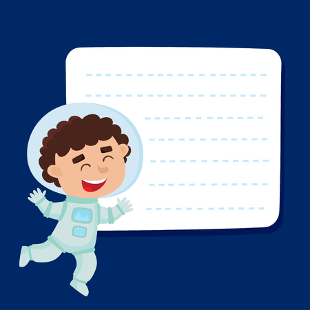 Cute little boy astronaut with a blank poster for your text. Illustration