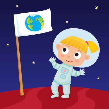Cute little happy blonde girl astronaut standing on Mars with Earth flag. Illustration