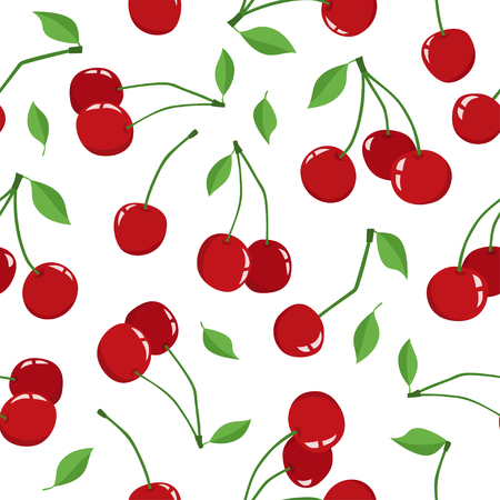 Cherry berry with leaves isolated on a white background. Vector seamless pattern of different fresh yammy cherryes. Cute illustration used for magazine or book, poster and card, menu cover, web pages. Illustration