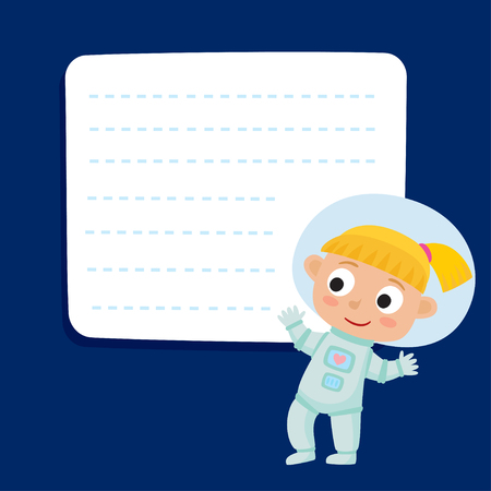 Cute little blonde girl astronaut with a blank poster.