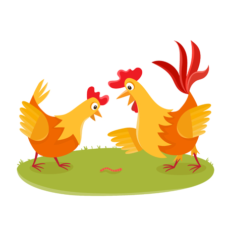 Cartoon rooster and chicken on grass isolated on white.