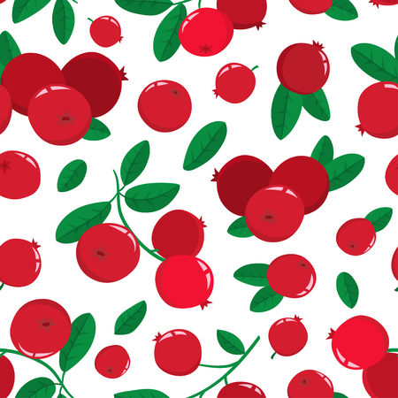 Vector seamless pattern with cartoon cranberries with green leaves isolated on a white background. Bright berries branch. Cute illustration used for magazine or book, poster and card, menu cover, web pages.
