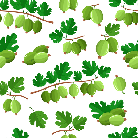 Vector seamless pattern with cartoon gooseberries with green leaves isolated on a white background. Bright berries branch. Cute illustration used for magazine or book, poster and card, menu cover, web pages. Illustration