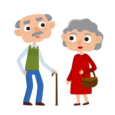 Happy senior lady and gentleman with silver hair standing together arm-in-arm. Cartoon old age couple isolated on white background.