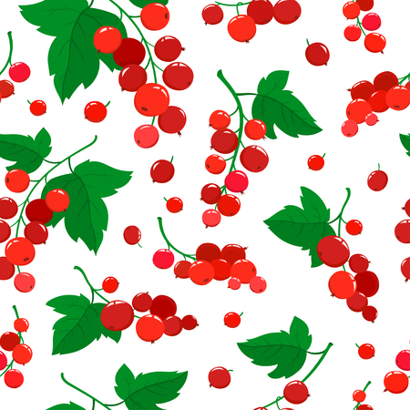 Vector seamless pattern with cartoon red currant berries with green leaves isolated on a white background. Bright berries branch. Cute illustration used for magazine or book, poster and card, menu cover, web pages.