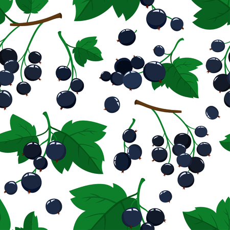 Vector seamless pattern with cartoon black currant berries with green leaves isolated on a white background. Bright berries branch. Cute illustration used for magazine or book, poster and card, menu cover, web pages. Illustration