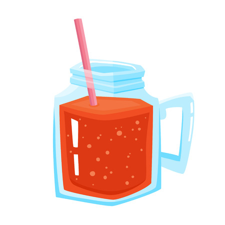 Vector illustration of jar with fresh red smoothie and straw isolated on white. Glass mug with juice, smoothie or lemonade used for magazine, book, poster, card, menu cover, web pages. Illustration