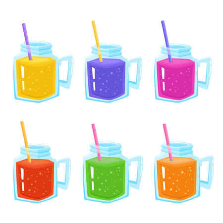 Mugs with colorful liquid Illustration