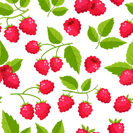 Vector seamless pattern with cartoon raspberries with green leaves isolated on a white background. Bright berries branch. Cute illustration used for magazine or book, poster and card, menu cover, web pages. Illustration