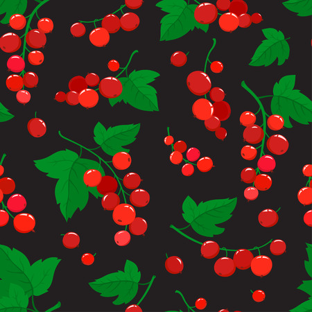 Vector seamless pattern with cartoon red currant berries