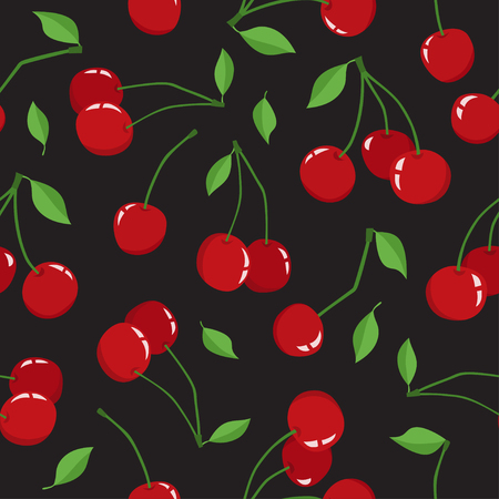 Cherry berry with leaves isolated on a black background. Vector seamless pattern of different fresh yammy cherryes. Cute illustration used for magazine or book, poster and card, menu cover, web pages. Stock Photo