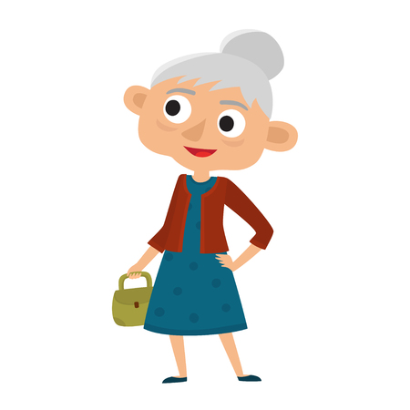 Happy senior lady with silver hair with bag.