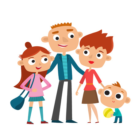Vector illustration of happy family in love. Father, mother, son and daughter together. Illustration