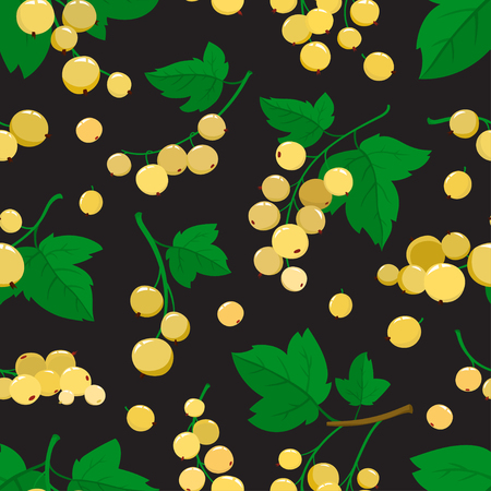Vector seamless pattern with cartoon white currant berries with green leaves