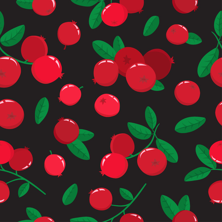 Vector seamless pattern with cartoon cranberries with green leaves