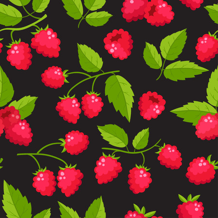 Vector seamless pattern with cartoon raspberries with green leaves Illustration