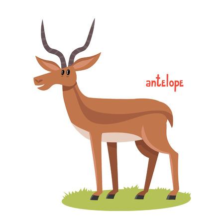 Cute antelope in cartoon style.