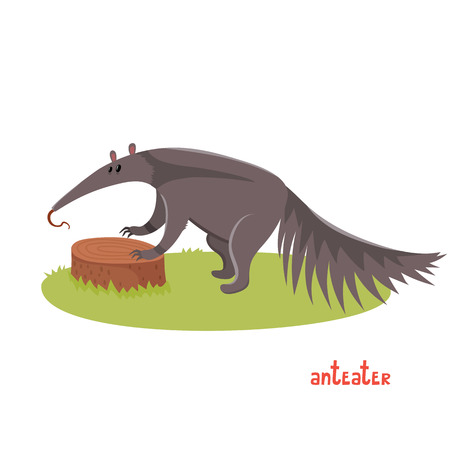 Cute anteater in cartoon style.