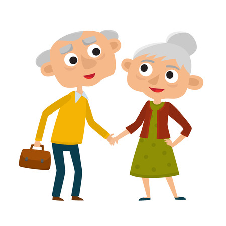 Happy senior lady and gentleman with silver hair standing together arm-in-arm. Stock Photo