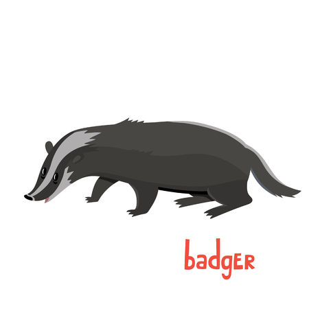 Cute badger in cartoon style. Vector illustration.