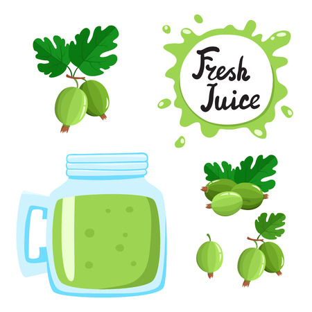 Juice with gooseberry in a glass bank, vector cartoon card Illustration