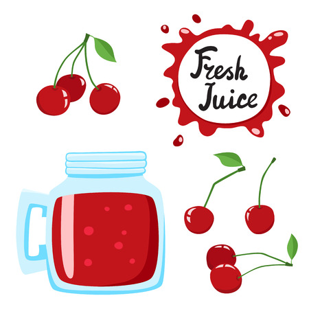 Juice with cherry in a glass bank, vector cartoon card