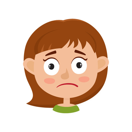 Little girl upset face expression isolated on white background.